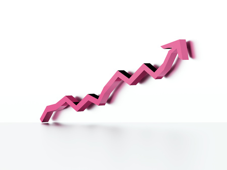 Pink business graph chart arrow rendered on white background