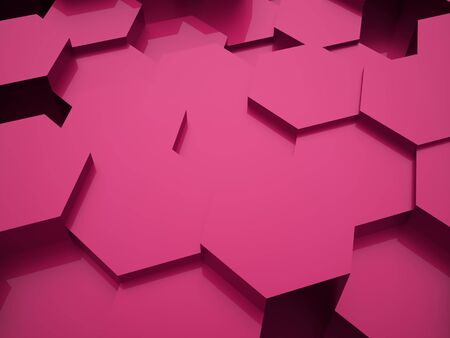 cell wall: Pink abstract hexagonal business background rendered Stock Photo