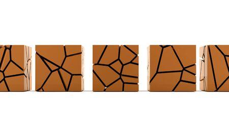 demolish: Cracked orange cube rendered on white background Stock Photo
