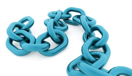 Blue chain concept rendered on white background
