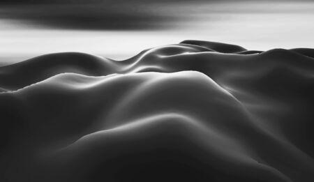 lifeless: Black and white lifeless landscape with huge mountains Stock Photo
