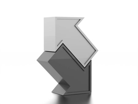 navigation pictogram: Silver simple business arrows icon rendered