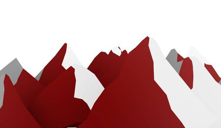Red mountain abstract rendered on white background Stock Photo