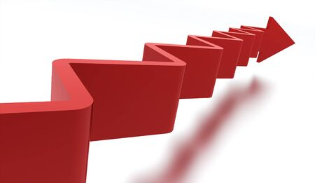upstairs: Red stair arrow business concept rendered Stock Photo