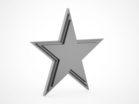 silver star: Silver star rendered isolated on white background Stock Photo