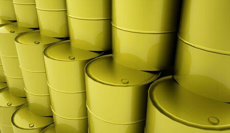 Green petrol barrels on white background rendered