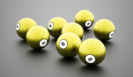billiard ball: Green eight Ball on a plain white background