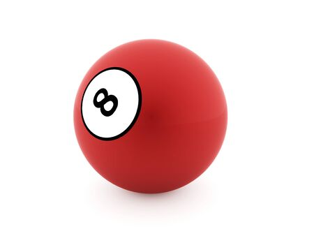 bola ocho: Red eight Ball on a plain white background