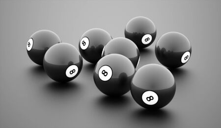game over: Black eight Ball on a plain white background