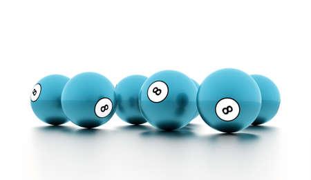 bola ocho: Blue eight Ball on a plain white background Foto de archivo