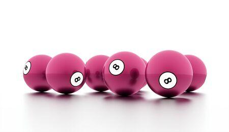 bola ocho: Pink eight Ball on a plain white background Foto de archivo