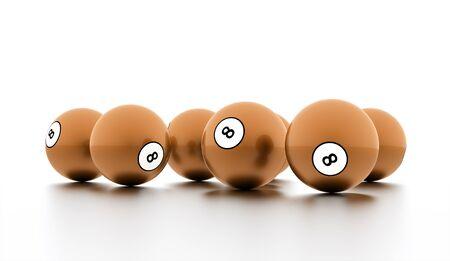 bola ocho: Naranja de ocho bolas sobre un fondo blanco liso