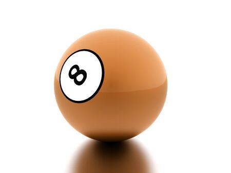 cue ball: Orange eight Ball on a plain white background