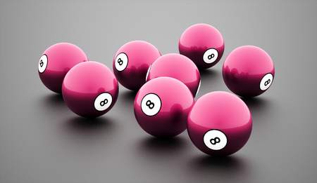 Pink eight Ball on a plain white background Stock Photo