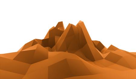 ranger: Orange mountain abstract concept rendered Stock Photo