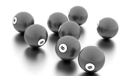 bola ocho: Black eight Ball on a plain white background