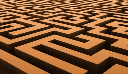 Orange labirinth business concept rendered Stock Photo