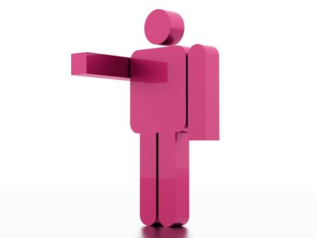 watch groups: Pink abstract man figure rendered on white background isolated
