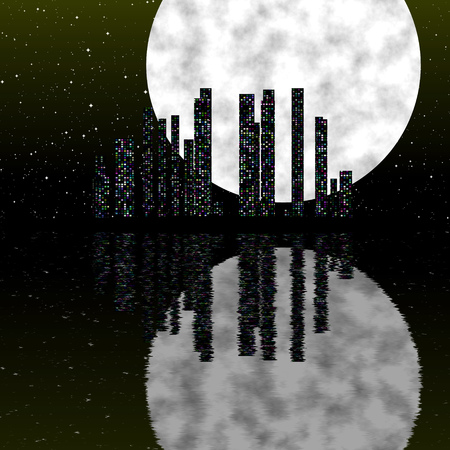 Night city scene with moon, reflection