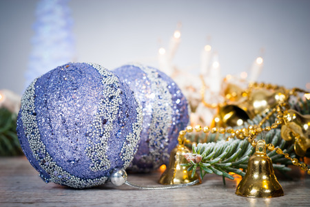Cristmas: Cristmas background with balls and christmas bells.