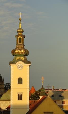 Zagreb church at sunset