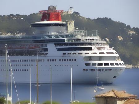 Big cruise ship in mediterranean sea Stock Photo