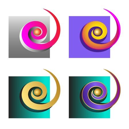 colorful spirals in square
