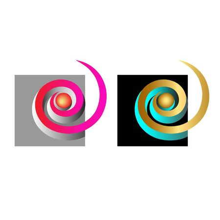 colorful and gold spirals Illustration