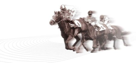 Horserace on path illustration isolated  Stock Photo