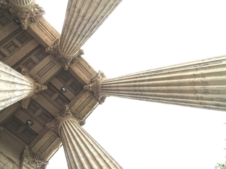 Classical columns view from below Stock Photo