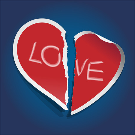 Love heart sticker torn apart Vector