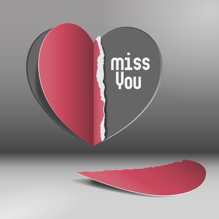 Miss you - half heart  Vector