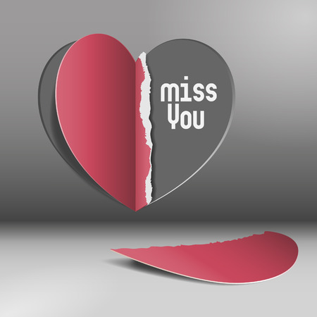 broken love: Miss you - half heart