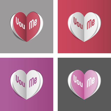 Love cards with cut heart - Valentine day