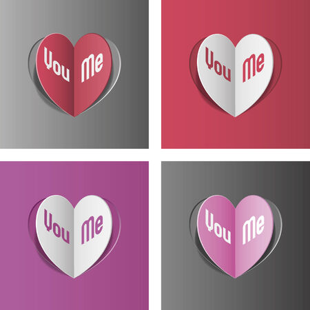 Love cards with cut heart, Valentine day Illustration