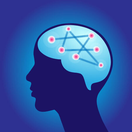 healt: brain illustration in blue Illustration