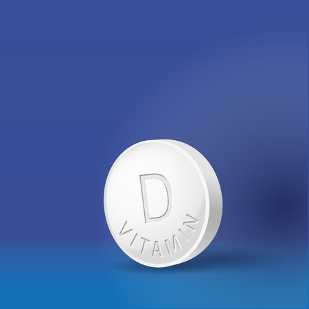 Vitamin D tablet in blue