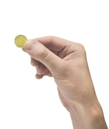 Hand holding coin on white background