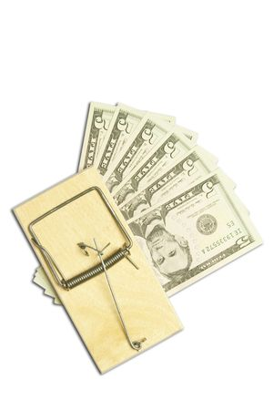 mousetrap and dollar bills on white background  Stock Photo - 7670900