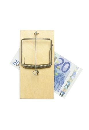 mousetrap and euro bill on white background photo