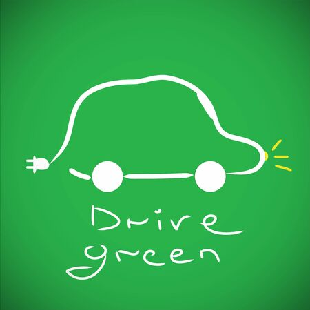 Eco car concept on green background photo