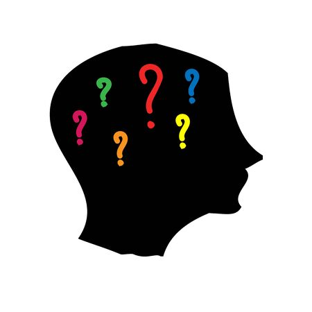 Head silhouette with question marks on white background photo