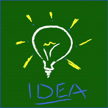 aha: Idea light bulb on green background