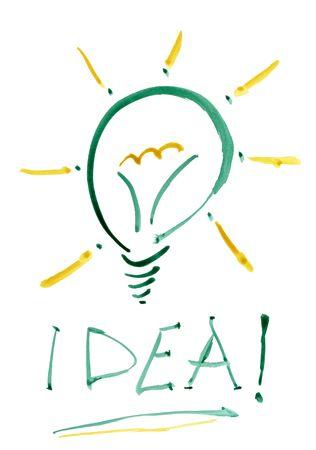 Idea žárovka na bílém pozadí. Akvarel ilustrace. Reklamní fotografie