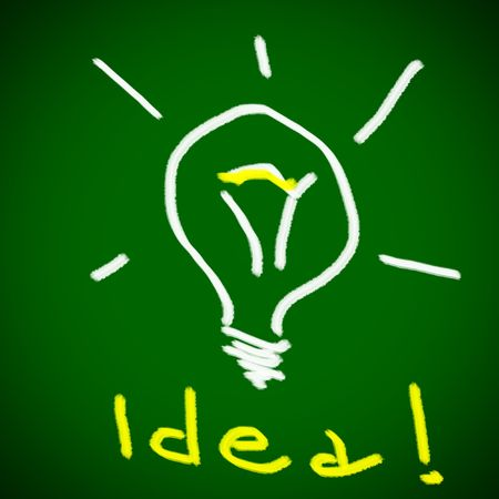 Idea light bulb on green background Stock Photo - 7885268