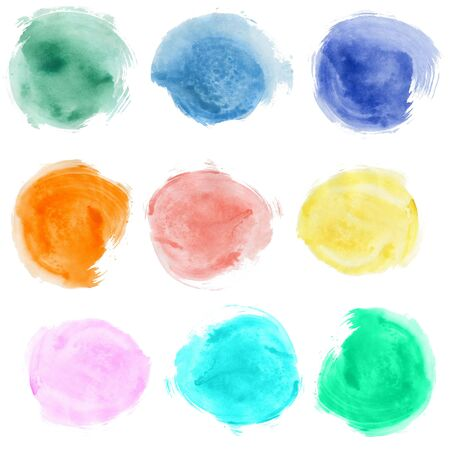 Set of watercolor blobs, isolated on white background  photo