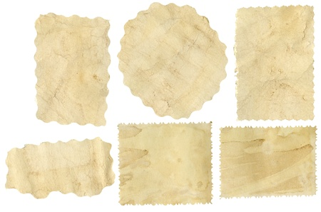 Six pieces of old paper on white background photo