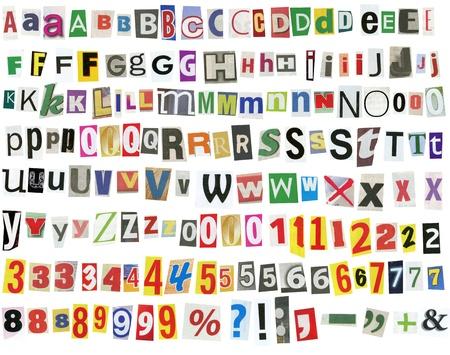 Giornale lettere, numeri e segni di punteggiatura, isolate on white