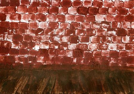 brick wall and brown floor interior photo