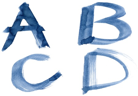 Grunge handwritten ink alphabet, isolated on white background. Letters ABCD photo